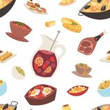 Spain cuisine vector food cookery traditional dish recipe spanish snack. Tapas crusty bread food gastronomy illustration. Cooked meat typical italian seafood Stock Photography