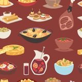 Spain cuisine vector food cookery traditional dish recipe spanish snack tapas crusty bread food gastronomy illustration. Cooked meat typical italian seafood Royalty Free Stock Photo