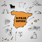 Spain culture. Elements of Spanish culture around the map. vector image Stock Photos