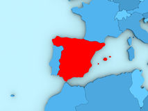 Spain on 3D map Royalty Free Stock Photos