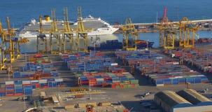 Spain day light barcelona city cargo port work 4k stock video