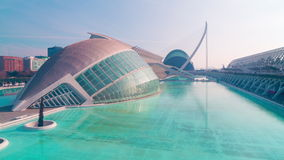 Spain day light bridge panoramic view on city of arts and sciences 4k time lapse stock video