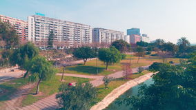 Spain day light valencia park panorama 4k time lapse. Day light valencia park panorama 4k time lapse spain stock video footage
