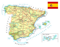 Spain - detailed topographic map - illustration. Map contains topographic contours, country and land names, cities, water objects, flag, roads, railways Stock Photo