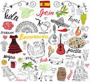 Spain doodles elements. Hand drawn set with spanish food paella, shrimps, olives, grape, fan, wine barel, guitars, music instrumen Stock Photos