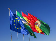 Spain EC Portugal Flags Granada Andalusia Spain Royalty Free Stock Photo