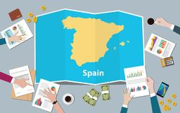 Spain economy country growth nation team discuss with fold maps view from top. Vector illustration vector illustration