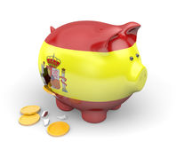 Spain economy and finance concept for GDP and national debt crisis. 3D render of a piggy bank representing Spain`s economy and national debt crisis Stock Photos
