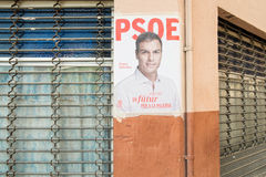Spain 2015 elections poster. ALICANTE, SPAIN-DECEMBER 5, 2015: Political campaign poster depicting oposition leader Pedro Sanchez on the kickoff to the 2015 royalty free stock photo