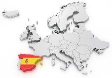 Spain em um euro- mapa Foto de Stock Royalty Free