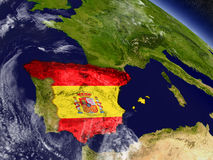 Spain with embedded flag on Earth Royalty Free Stock Photo