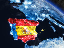 Spain with embedded flag from space Stock Photography
