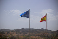 Spain and EU flags Stock Photo