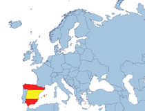 Spain on Europe map. In flags color Stock Photography
