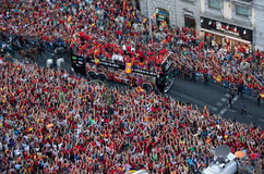 Spain European Champion. On Monday July 2nd, 2012, the Spanish national football team made a bus tour through Madrid after winning the European Championship Stock Photography