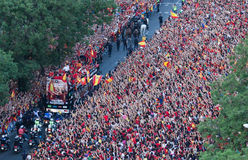 Spain European Champion. On Monday July 2nd, 2012, the Spanish national football team made a bus tour through Madrid after winning the European Championship Royalty Free Stock Photography