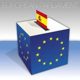 Spain, European parliament elections, ballot box and flag. European parliament elections voting box, Spain, flag and national symbols, vector illustration royalty free illustration