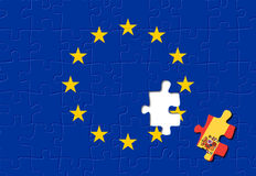 Spain and European Union. Jigsaw puzzle showing Spain is a part of the European Union Royalty Free Stock Images