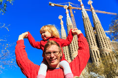 Spain family travel - happy father and daughter in front of Sagrada Familia, Barcelona Stock Photo