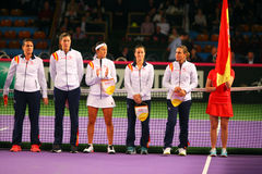 Spain Fed Cup Team. Spains Fed Cup team pictured before the Fed Cup meeting against Romania. After the first day, the score is 1-1 Stock Image