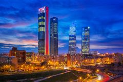 Spain financial district skyline at twilight. Madrid, Spain financial district skyline at twilight in madrid city royalty free stock photography