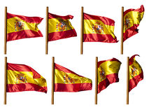Spain flag. This image shows the Spanish flag, waving in different poses Royalty Free Stock Photos