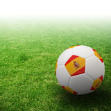 Spain flag on 3d Football. For Euro 2012 Group C Royalty Free Stock Photo