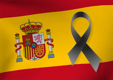 Spain flag background with a black ribbon to commemorate   Royalty Free Stock Photography