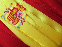 SPAIN flag or banner. Made with red and yellow ribbons royalty free stock photos