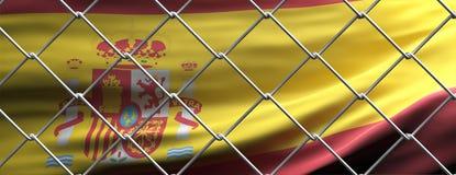 Spain flag behind steel mesh wire fence. Coronavirus pandemic quarantine, 3d illustration