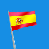 Spain flag on blue background. 3d illustration Stock Photography