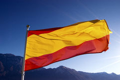 Spain Flag on Blue Sky Royalty Free Stock Images