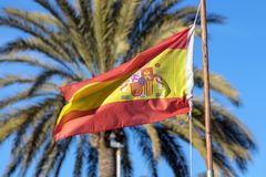 Spain flag with a bright background royalty free stock photos
