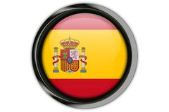 Spain flag in the button pin Isolated on White Background Stock Image