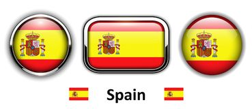 Spain flag buttons Royalty Free Stock Photos
