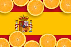 Spain flag in citrus fruit slices horizontal frame. Spain flag in horizontal frame of orange citrus fruit slices. Concept of growing as well as import and export royalty free illustration