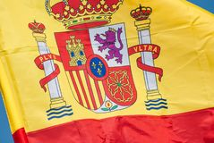 Spain flag closeup. In color royalty free stock images