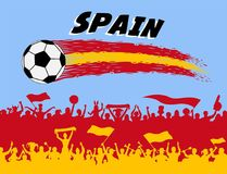 Spain flag colors with soccer ball and Spanish supporters silhou. Ettes. All the objects, brush strokes and silhouettes are in different layers and the text Royalty Free Stock Photo