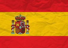 Spain flag crumpled paper stock illustration