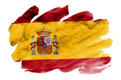 Spain flag is depicted in liquid watercolor style isolated on white background. Careless paint shading with image of national flag. Independence Day banner stock images