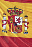 Spain flag detail. Detail of a spain flag waving on the wind royalty free stock photos