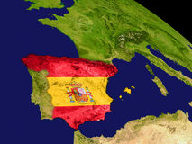 Spain with flag on Earth Royalty Free Stock Photography