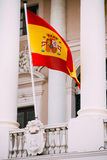 Spain flag on facade of old building Royalty Free Stock Photography