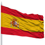 Spain Flag on Flagpole. Flying in the Wind, Isolated on White Background Stock Photography