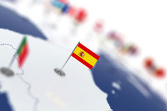 Spain flag in the focus. Europe map with countries flags Stock Photo