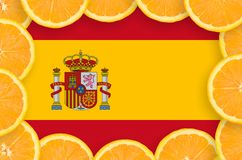 Spain flag in fresh citrus fruit slices frame. Spain flag in frame of orange citrus fruit slices. Concept of growing as well as import and export of citrus royalty free illustration