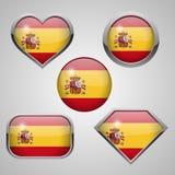 Spain flag icons theme. Stock Photos