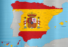 Spain flag map regions Royalty Free Stock Photography