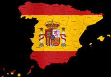 Spain flag map regions provinces Royalty Free Stock Photos