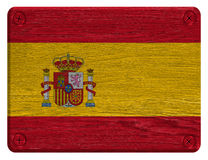 Spain flag. Painted on wooden tag royalty free stock photo